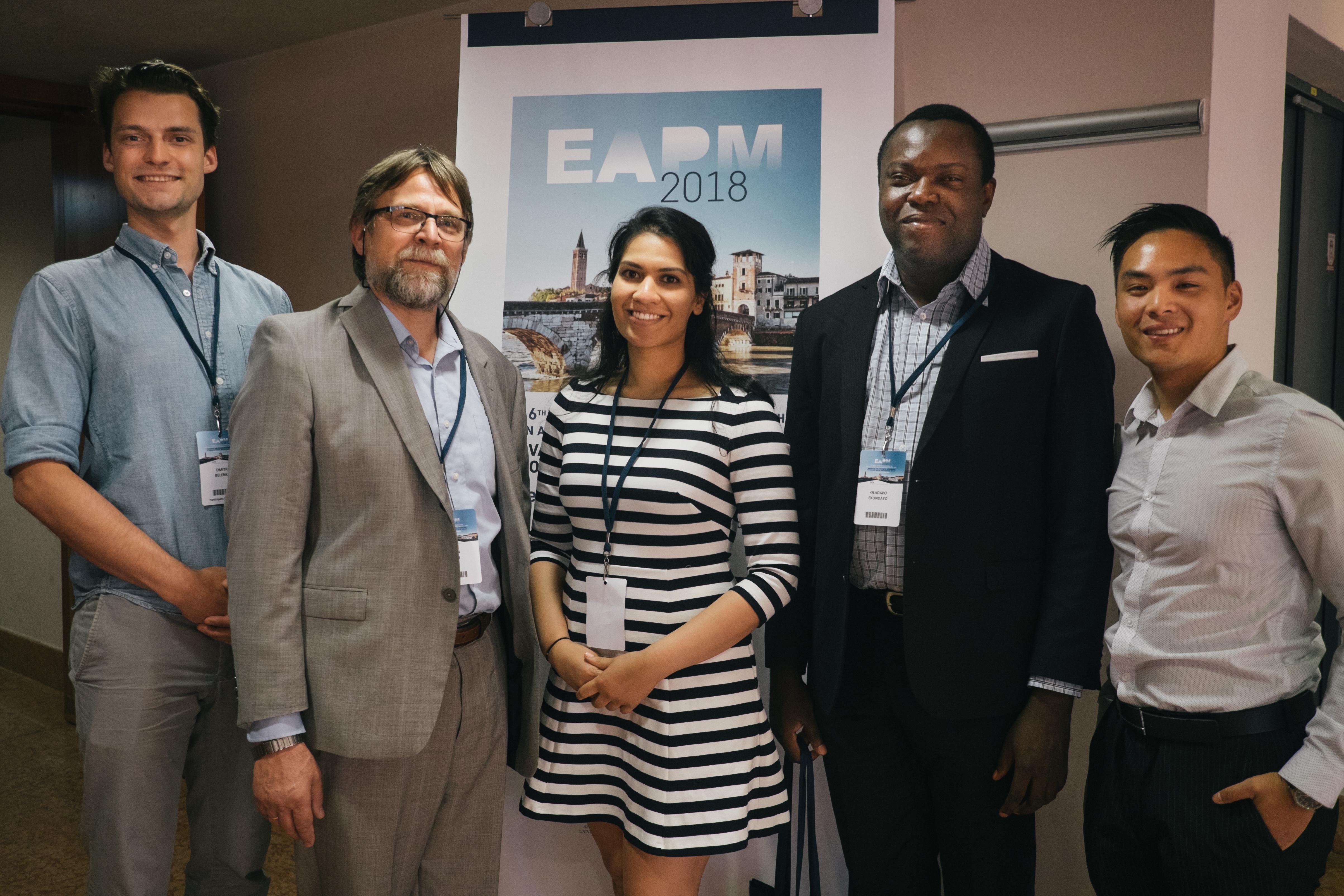 Dmitri Belenko, Dr. Istvan Mucsi, Aarushi Bansal, Oladapo Ekundayo, and Evan Tang at the EAPM 2018