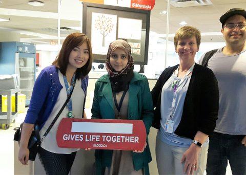 Dorothy Wong, Abeera Ali, Deanna Toews, and Farzad Khalafi at the blood donation clinic