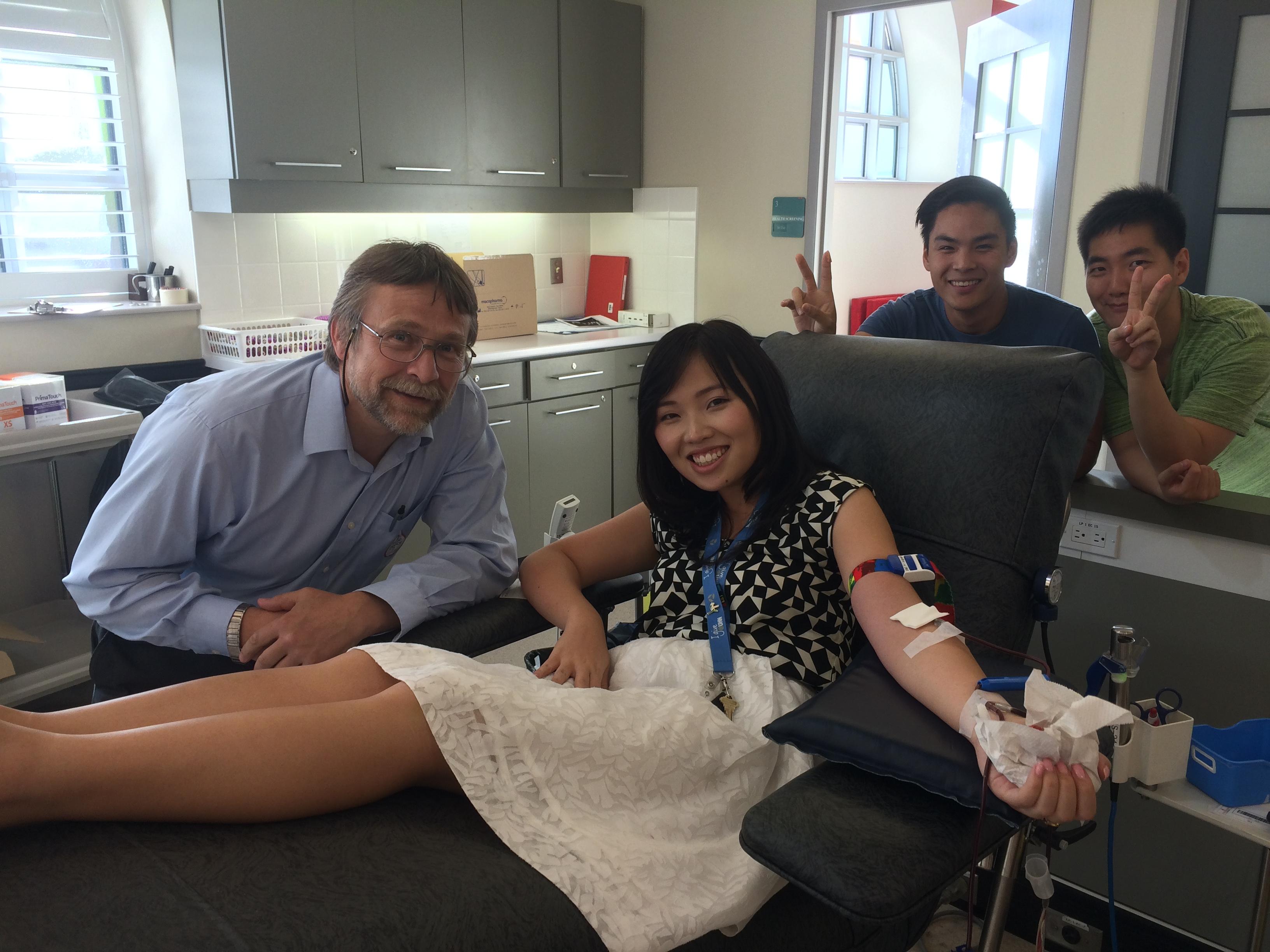 Dr. Mucsi, Dorothy Wong, and Evan Tang at the blood donation clinic